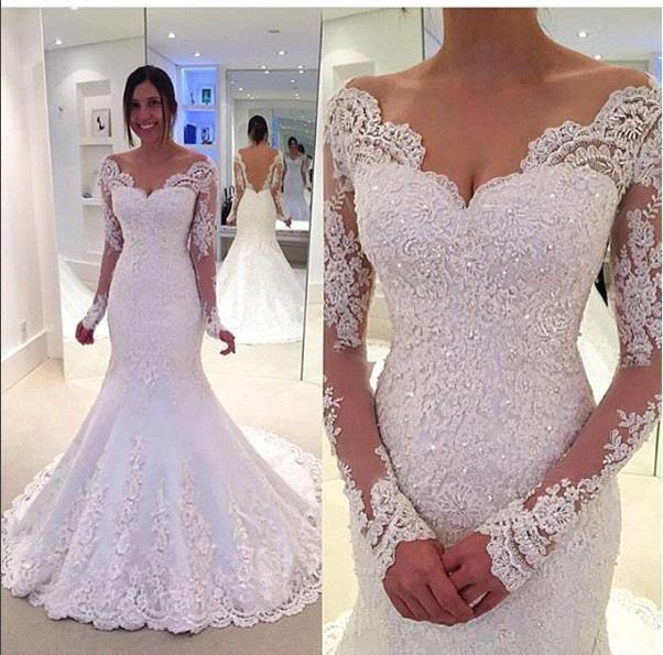 Off-the-Shoulder Lace Sleeves Long Elegant Fit and Flare Wedding Dresses