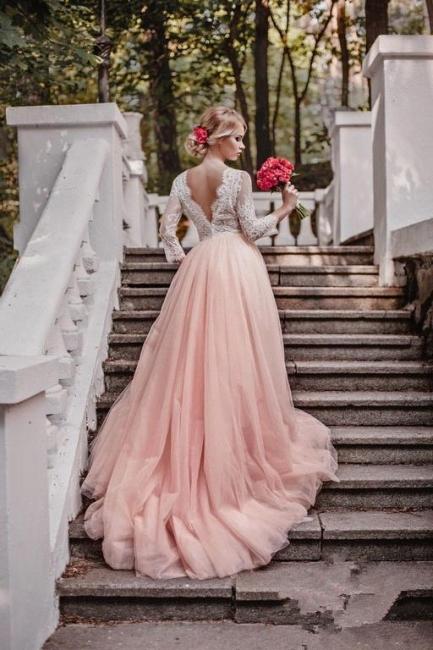 Elegant Pink Long Sleeves V-Neck Lace Tulle A-line Wedding Dresses