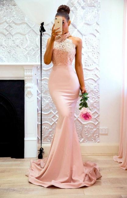 Elegant Pink Mermaid Bridesmaid Dresses | High Neck Lace Formal Dresses