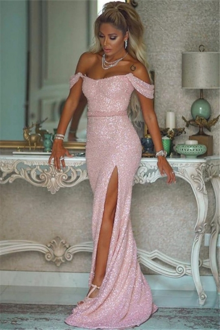 Off the Shoulder Fitted Thigh Slit Pink Sequined Prom Dresses