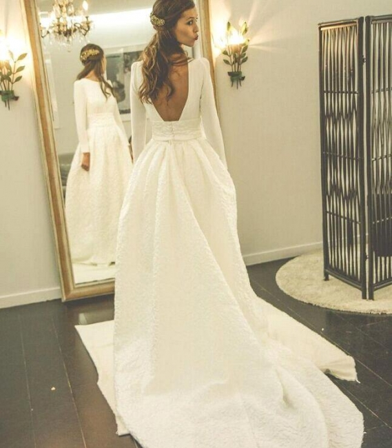 New Arrival A-line Sweep-Train Bridal Gowns Open Back Long-Sleeve Jewel Wedding Dress