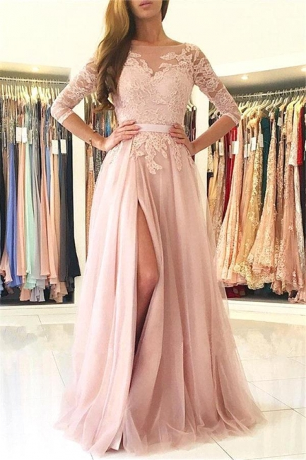 Lace Tulle Prom Dress Half Sleeves Backless Side Split Formal Gown