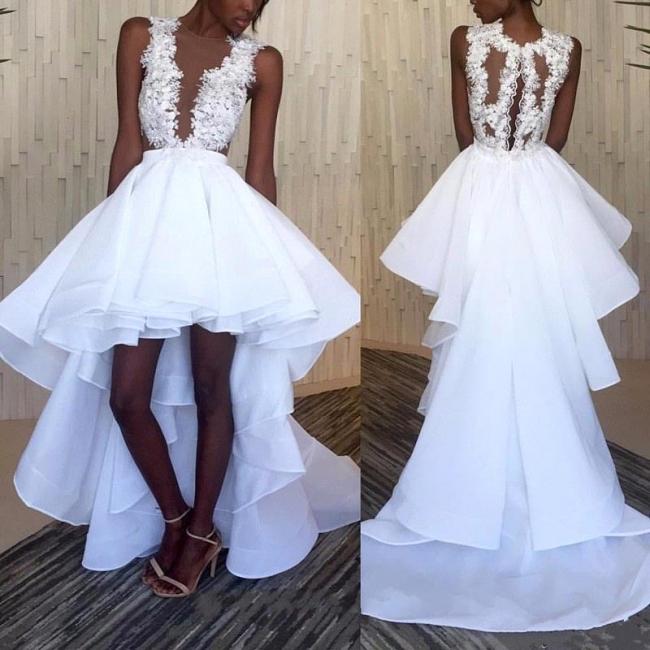 Sleeveless Ruffles Lace Hi-Lo White Appliques Wedding Dresses
