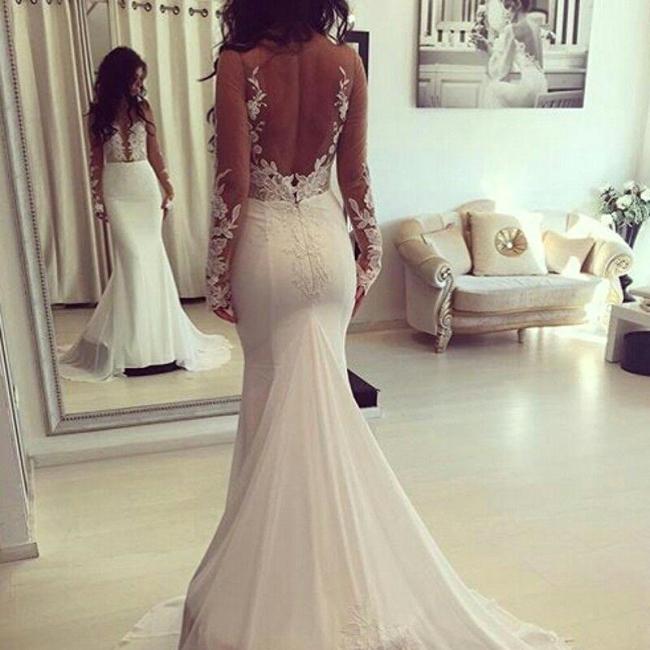Elegant Mermaid Wedding Dresses   Long Sleeves Backless Bridal Gowns