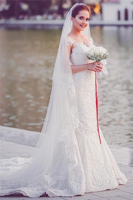 Elegant Off-the-Shoulder Sweetheart Lace-Appliques Mermaid Tull Wedding Dresses