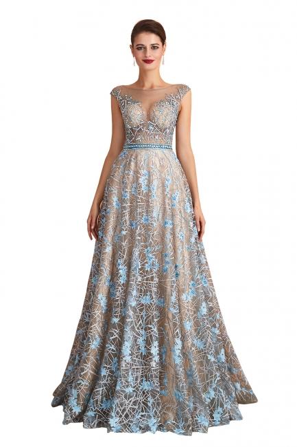 Elegant Jewel Sleeveless Appliques A-line Prom Dresses