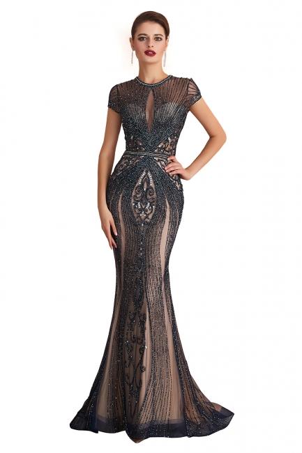 Jewel Keyhole Cap Sleeves Floor Length Beaded Black Prom Dresses