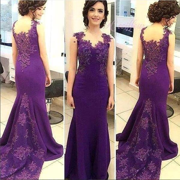 Purple Sleeveless Lace Appliques Prom Dress Long Fit and Flare Evening Gowns