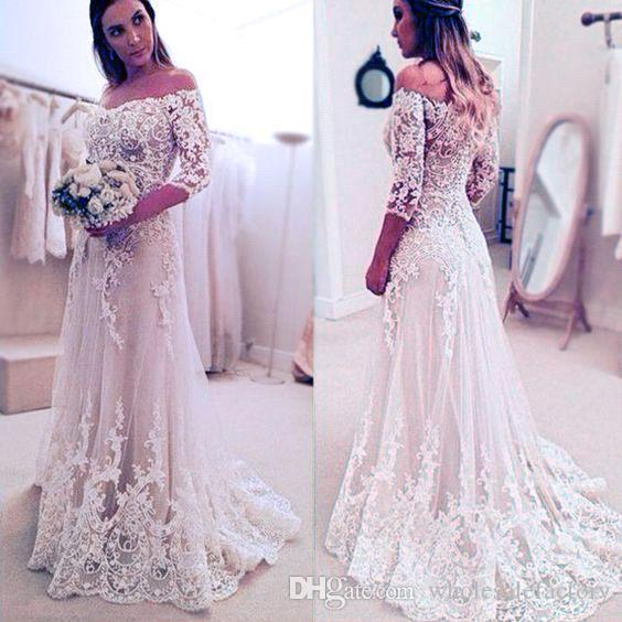 Elegant Lace Appliques A-line Sleeves Off-the-Shoulder Wedding Dresses