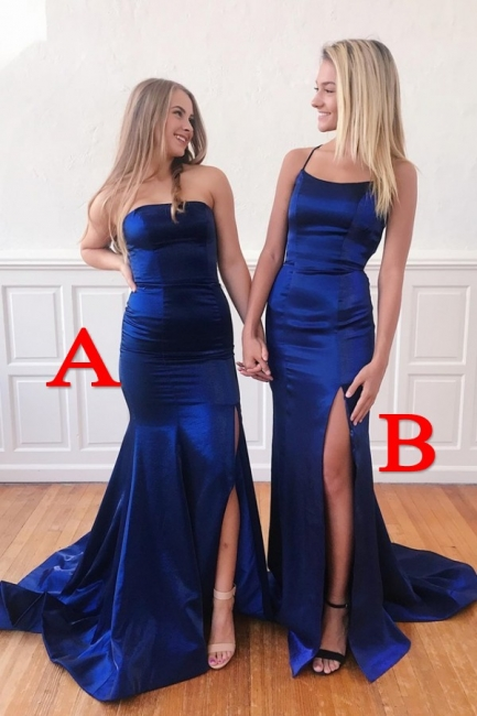 Flowing Floor Length Fitted Satin Prom Dresses with Slit | Long Silky Evening Dresses