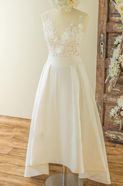 V-neck Sleeveless Lace Appliques A-line Casual Wedding Dresses