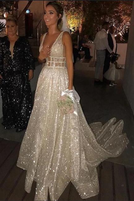 Glitter Straps V Neck A Line Prom Dresses | Backless Sequins Evening Dresses