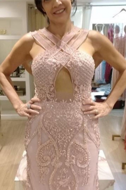 Classic Keyhole Cross Straps Beaded Pink Fitted Prom Dresses