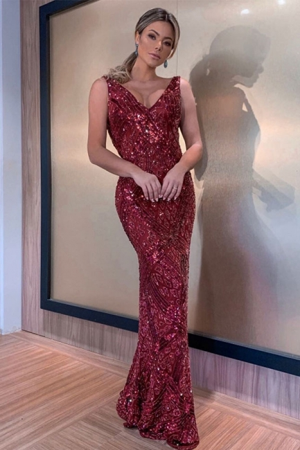 Sparkly Straps V-neck Fitted Red Prom Dresses | Cheap Long Evening Dresses