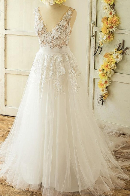 V-neck Sleeveless Appliques Tulle A-line Princess Wedding Dresses