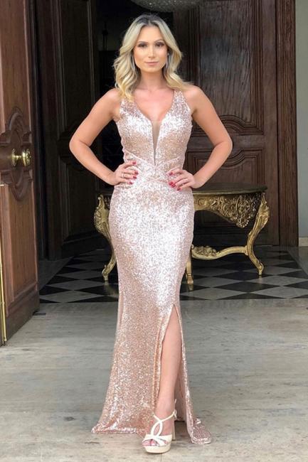 Straps V-neck Side Slit Gold Sequin Floor Length Prom Dresses