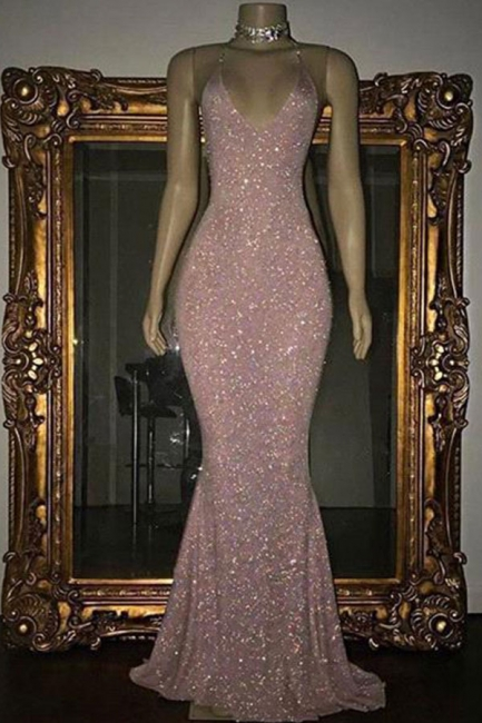 Stunning Sequins Mermaid Prom Dresses | Shiny Spaghettis Straps Evening Gowns