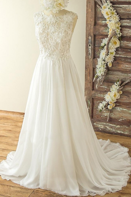 Jewel Sleeveless Lace Appliques Simple A-line Wedding Dresses