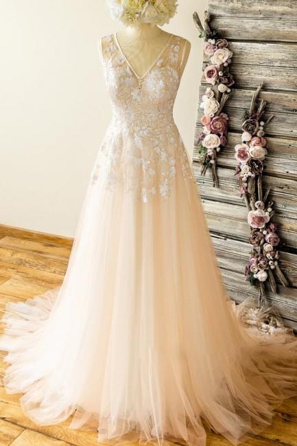 V-neck Sleeveless Appliques Tulle A-line Unique Wedding Dresses