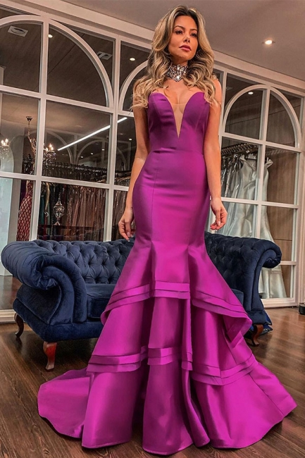 Solid Strapless Sweetheart Mermaid Tiered Floor Length Prom Dresses
