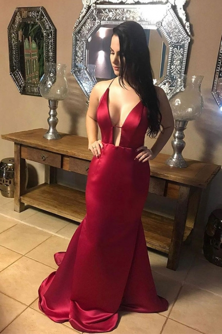 Sexy Spaghetti Straps Burgundy V Neck Criss-cross Floor Length Long Mermaid Prom Dresses