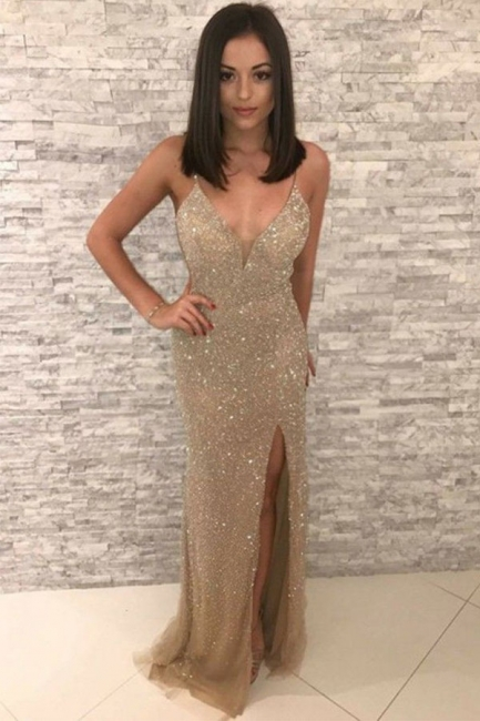 Straps Fitted Gold Sparkly Prom Dresses with Slit | Sequin Evening Dresses
