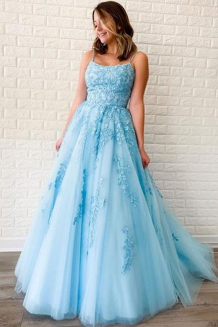 Criss-cross Straps A-line Lace Appliques Tulle Blue Prom Dresses
