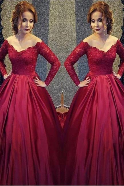 Burgundy A-line V-neck Off-shoulder Long Sleeves Lace Top Prom Dresses