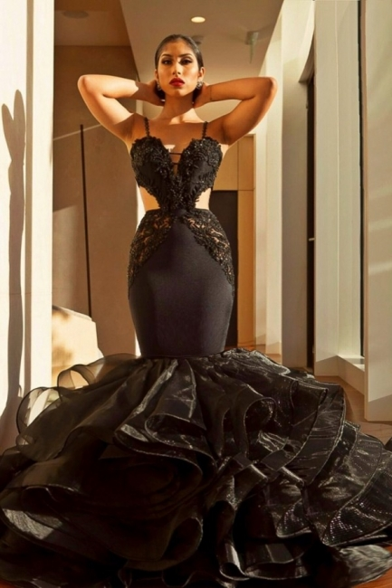Sexy Black Mermaid Prom Dresses | Spaghettis Straps Cutaway Sides Evening Gowns with Ruffles Train