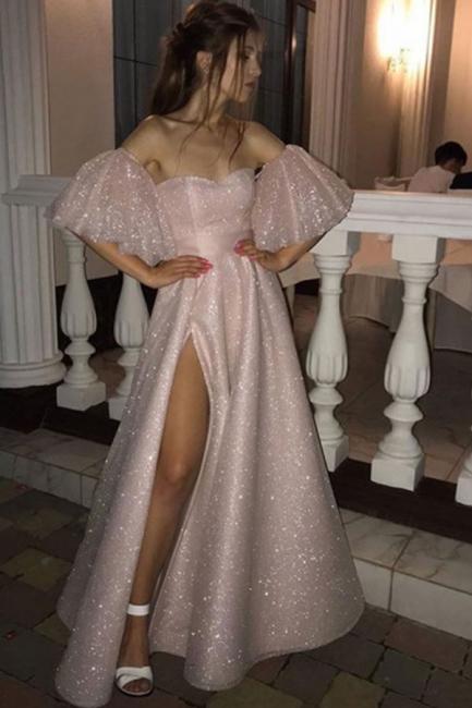 Stunning Off the Shoulder Puffy Length High Slit Prom Dresses
