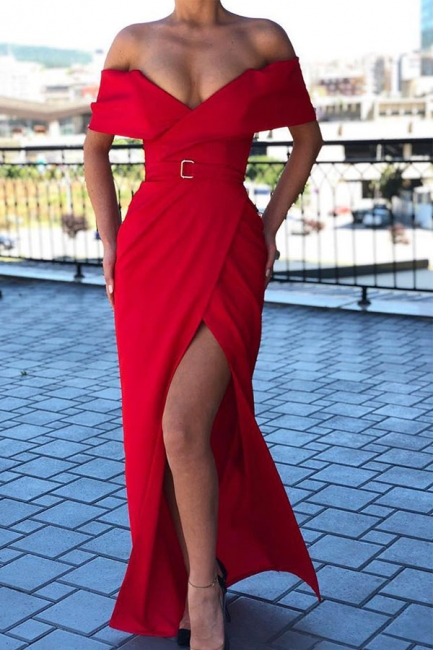 Elegant Off Shoulder Belted Thigh Slit Floor Length Red Prom Dresses