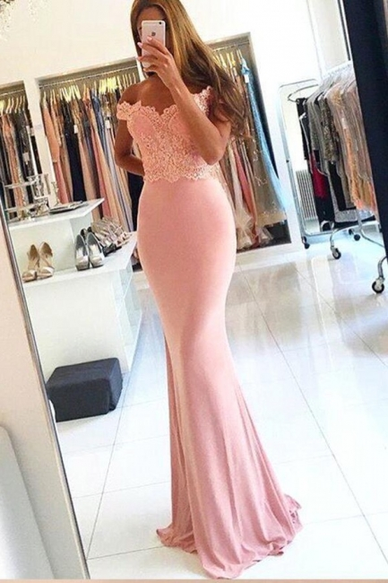 Sexy Cheap Pink Off-the-Shoulder Lace Long Sheath Evening Dresses with Beading