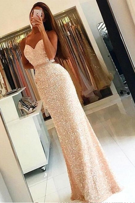 Long Sleeveless Sequined Prom Dress Spaghetti-Strap Bodycon Evening Gowns