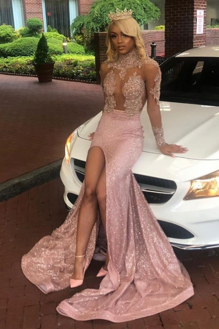 High Neck Lace Appliques High Slit Long Sleeves Mermaid Prom Dresses