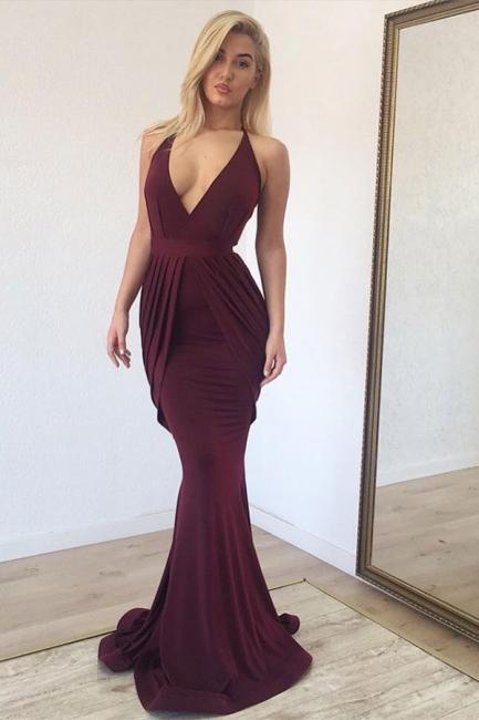 Classic Deep Vneck Straps Mermaid Burgundy Hot Sexy Prom Dresses