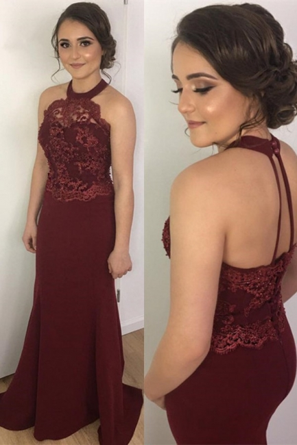 2018 Burgundy Prom Dresses Mermaid Lace Halter Backless Evening Gowns