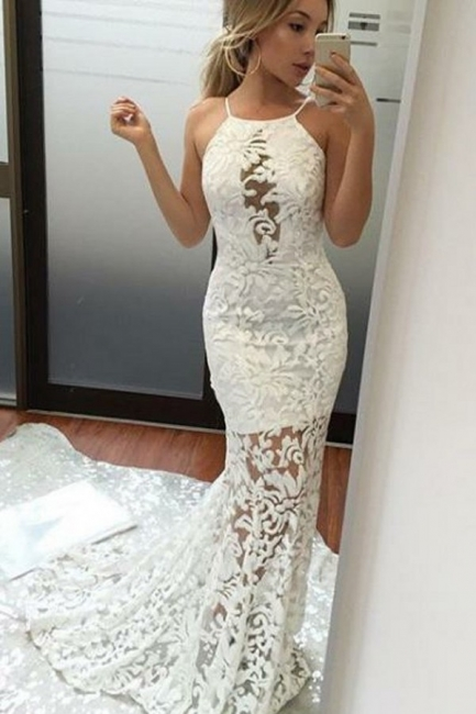 Lace White Long Mermaid Elegant Jewel Prom Dresses