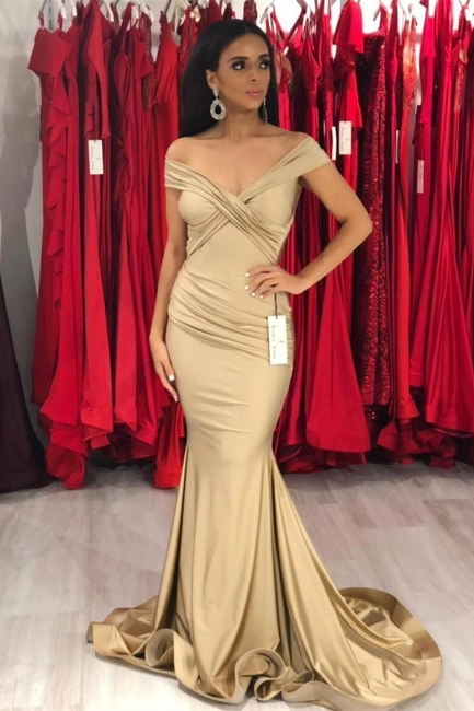 Off the Shoulder Sleek Fit and Flare Prom Dresses | Long Silky Evening Dresses