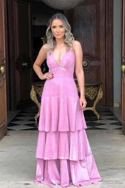 Straps V-neck Hot Pink Tiered A-line Prom Dresses | Layered Special Occasion Gowns
