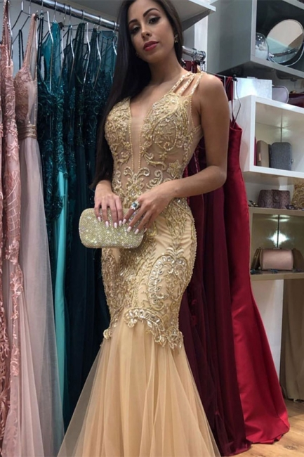 Spaghetti Straps Lace Tulle Mermaid Prom Dresses | Gold Color Evening Dresses