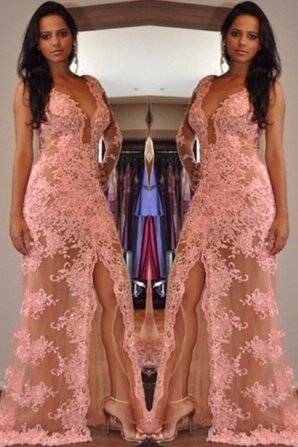 Sexy V-Neck Tulle Appliques Front-Split One-Shoulder Prom Dress