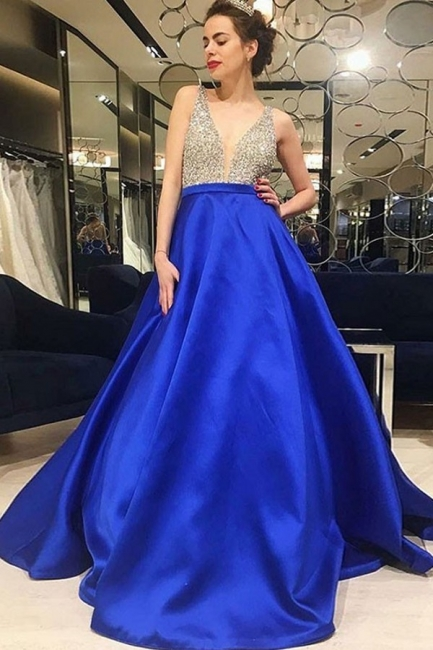 Chic V-Neck Crystal Prom Dresses Sleeveless Popular Sexy Evening Dresses Cheap