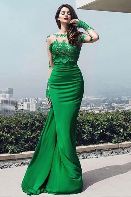 chic Elegant prom dresses lace long prom dresses