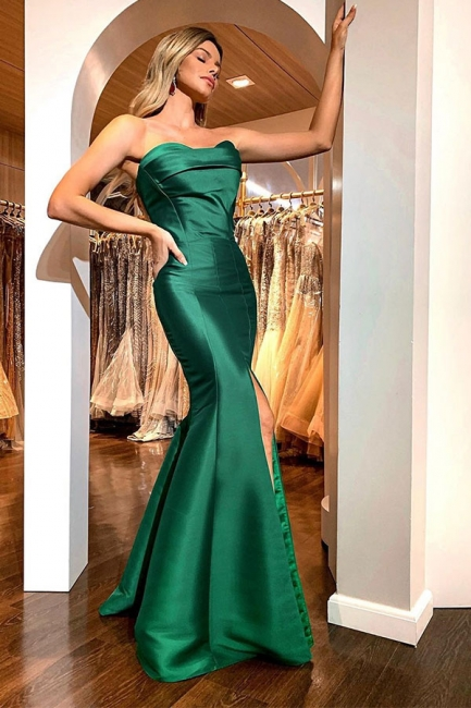 Sexy Green Strapless Front Slit Floor Length Mermaid Prom Dresses | Fit and Flare Evening Dresses