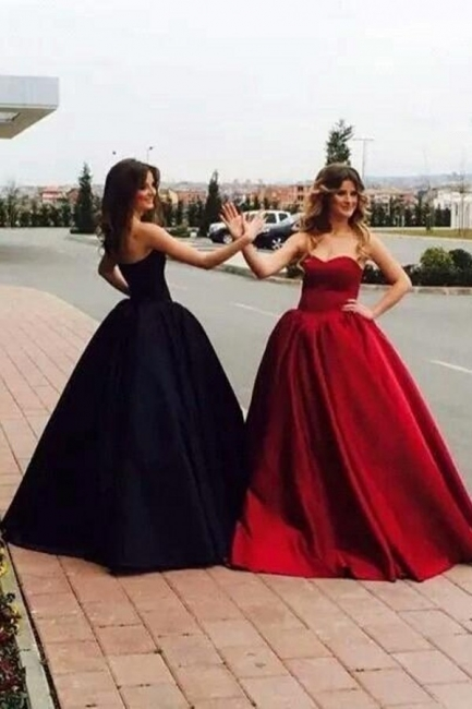 Ball-Gown Simple Sleeveless Sweetheart Glamorous Prom Dresses