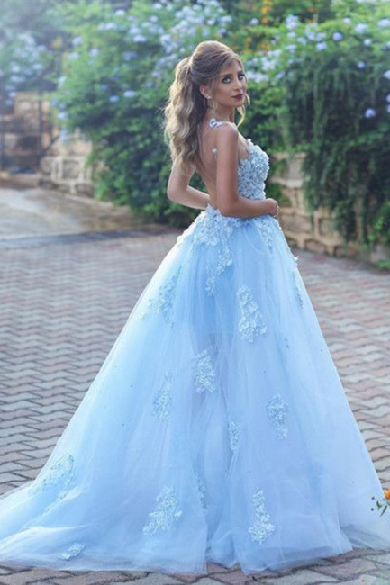 Gorgeous A Line Appliques Lace Tulle Prom Dresses 2018 with Flower