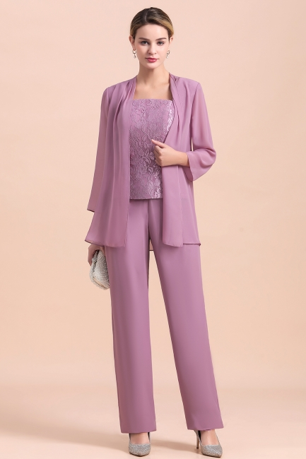 Fashion Lilac Chiffon Mother of Bride Pant Set with Half Sleeves Jacket