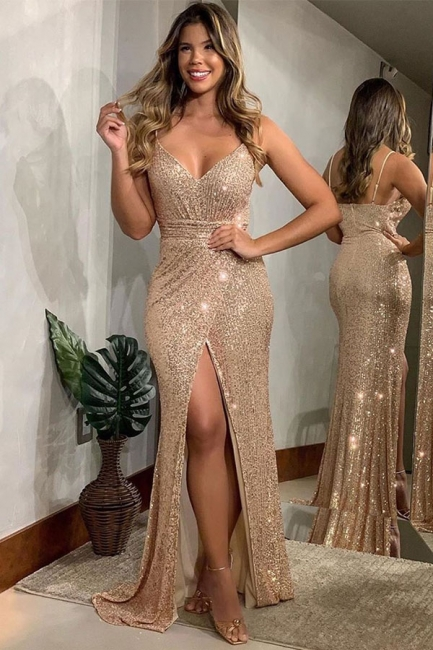 Off the Shoulder Sequin Fitted Sexy Prom Dresses with Slit | Sparkly Long Evening Dresses