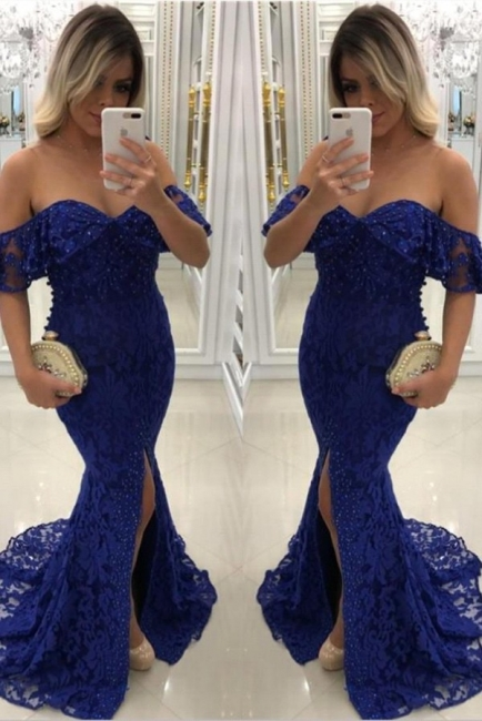Sweetheart Off-shoulder Floor-length Split Pearls Lace Mermaid Prom Dresses