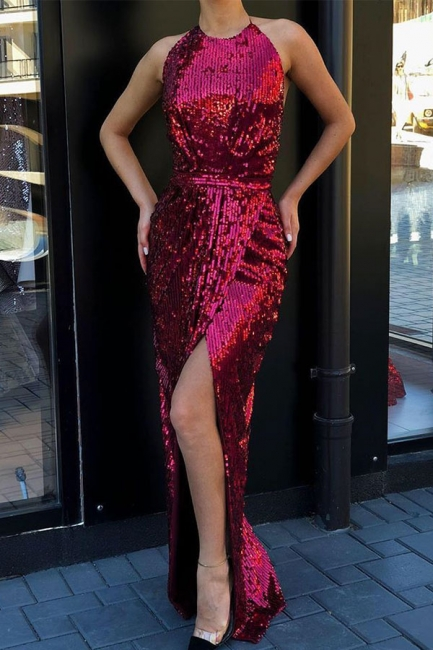 Jewel Side Slit Fitted Long Sparkly Red Sequined Prom Dresses